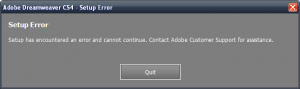 Adobe CS4 failing to install