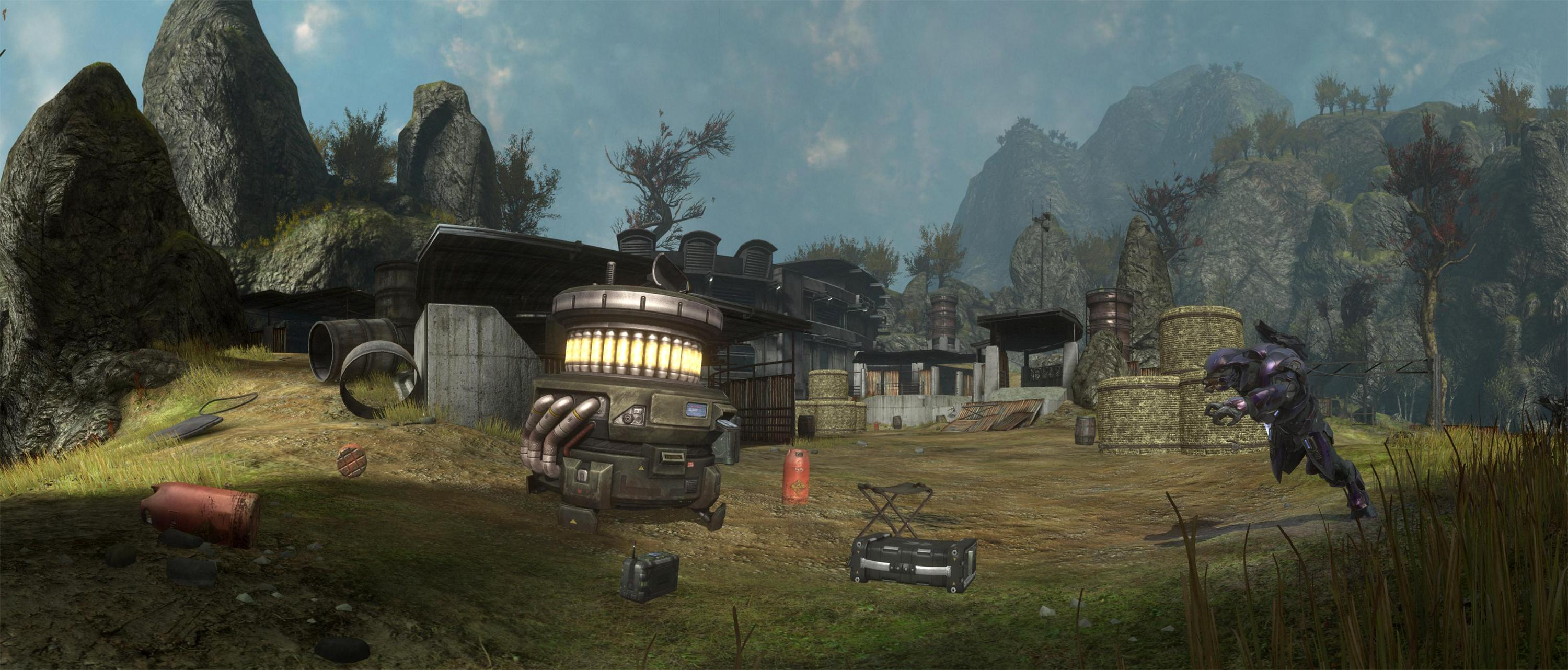 Large Panorama of an Elite attacking a generator on the Halo Reach Beta map Overlook.