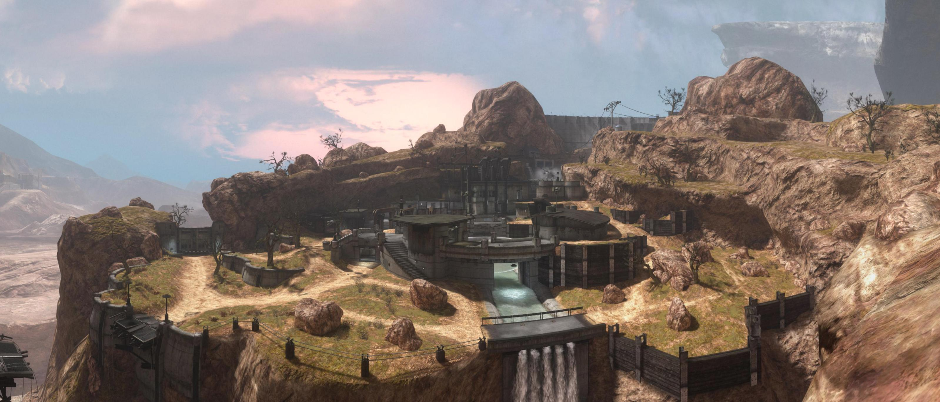 Big panorama on the Halo Reach Beta map Powerhouse.